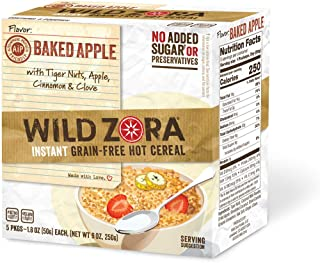 Wild Zora Instant Grain Free Hot Cereal - AIP Baked Apple - Oatmeal Substitute, AIP Friendly, Vegan Breakfast, No Sugar Ad...