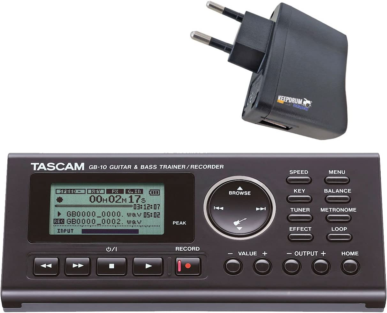 Tascam GB-10 - Grabadora de entrenamiento para guitarra y bajo, incluye fuente de alimentación USB keepdrum
