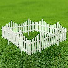 Sungmor Plastic White Edgings Garden Picket Fence - Grass Lawn Flowerbeds Plant Borders - Decorative Landscape Path Panels...