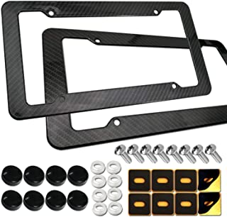 Carbon Fiber License Plate Frames - 2 Pack 4 Hole Plastic Black License Plate Holder Front & Rear Set with Plate Fasteners Screws,Black Screw Cover and Adhesive Backed Foam Anti-Rattle Pads