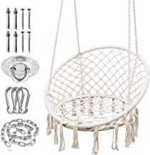 SURPCOS Hammock Chair with Durable Hanging Hardware Kit, Exquisite Dreamy Round Hanging Chair, 100% Cotton Rope Macrame Sw...