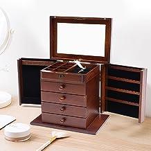 Duże pudełko do przechowywania z drewna na biżuterię, organizer 5 poziomów, pudełko do przechowywania z 5 szufladami na pi...