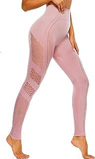 Conjunto Tops Yoga Pantalon Deportivo Leggings Sin Costuras Mujer Alta Cintura Yoga Elásticos Fitness Seamless