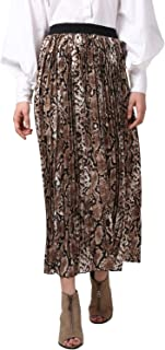 StyleStone Women's Black and Brown Snake Print Pleated Skirt (3530PleatMixSnake)