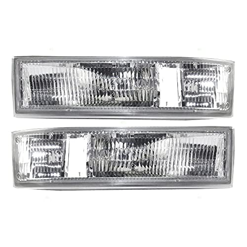 Driver and Passenger Park Signal Side Marker Lights Lamps Lenses Replacement for Chevrolet GMC Van 16523211