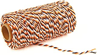 AKOAK Bakers Twine,1 Roll 109 Yards Cotton Twine Packing String for Gift Wrapping,Crafts and Decoration (Orange+White+Black)
