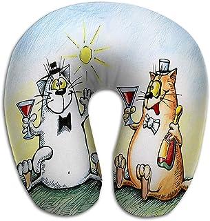 Almohada en Forma de U Suave Cómodo Gatos Ajustables Celebrando el Alcohol Dos Ideales
