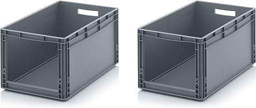 2x Euro Sichtlagerkasten 60 x 40 x 32 cm inkl. gratis Zollstock * Eurobehälter mit Fenster