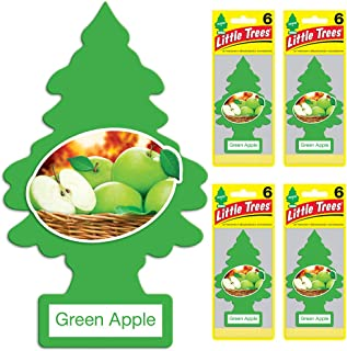 Little Trees Car Air Freshener | Hanging Tree Provides Long Lasting Scent for Auto or Home | Green Apple, 6-Packs (4 Count)