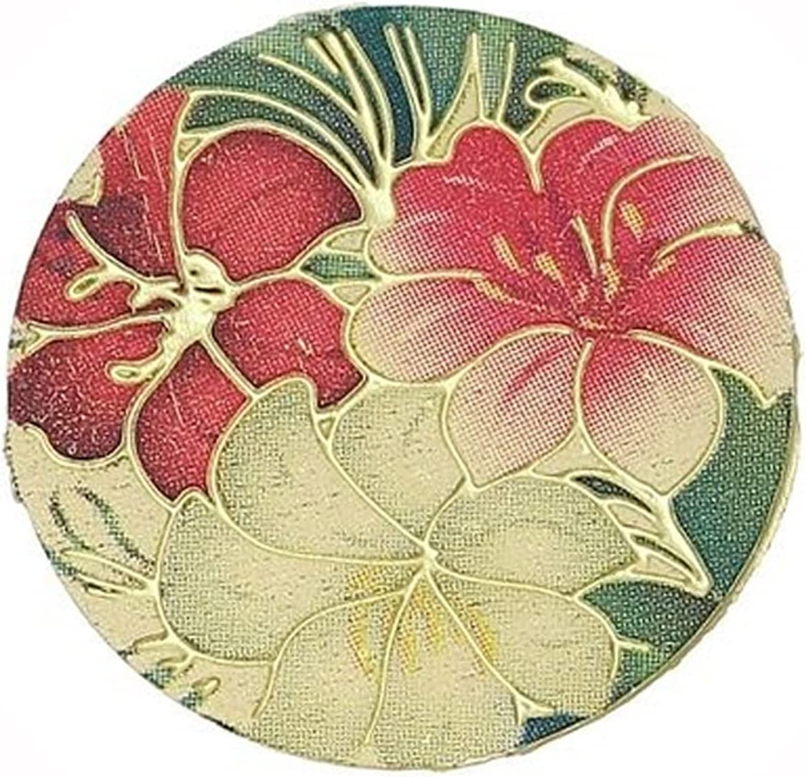 New Tropical Flowers Gold Plated Plate Floating Disc quality assurance Charm 20mm Sales of SALE items from new works