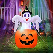 AerWo 4.7ft Halloween Inflatable Blow Up Ghost on Pumpkin, Upgraded Halloween Inflatable Pumpkin Light Halloween Outdoor Y...