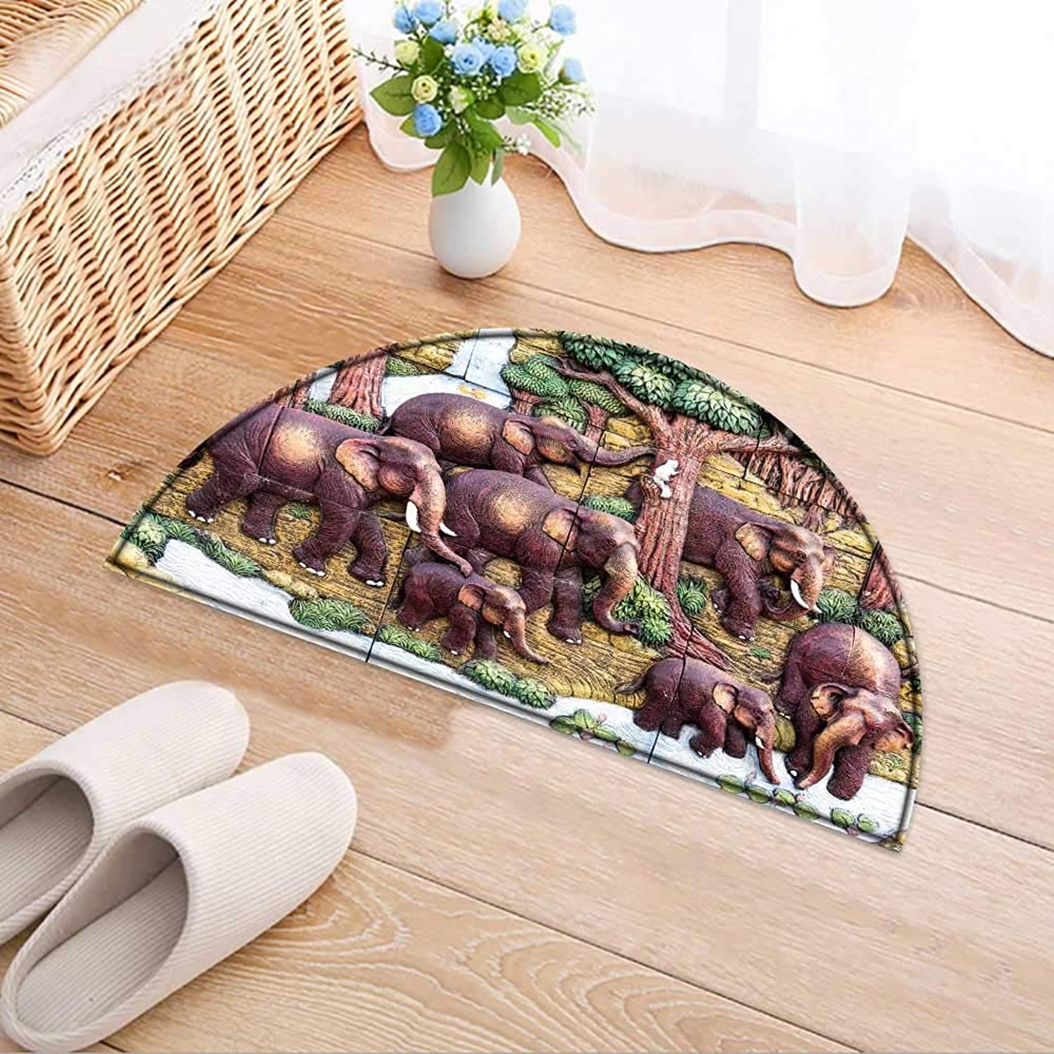 Semicircle Rug Kid Carpet Surin Thailand May Elephant Sculpture bas reliefs wso That Tourists can Home Decor Foor Carpe W47 x H32 INCH
