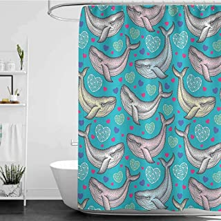 """shower curtains for bathroom and hooks Turquoise Decor Collection,Dotted Humpback Whale in Pastel Colors and Hearts Maritime Valentine Day Image,Pink Deep Sky Blue W65"""" x L72"""",shower curtain for bathr"""