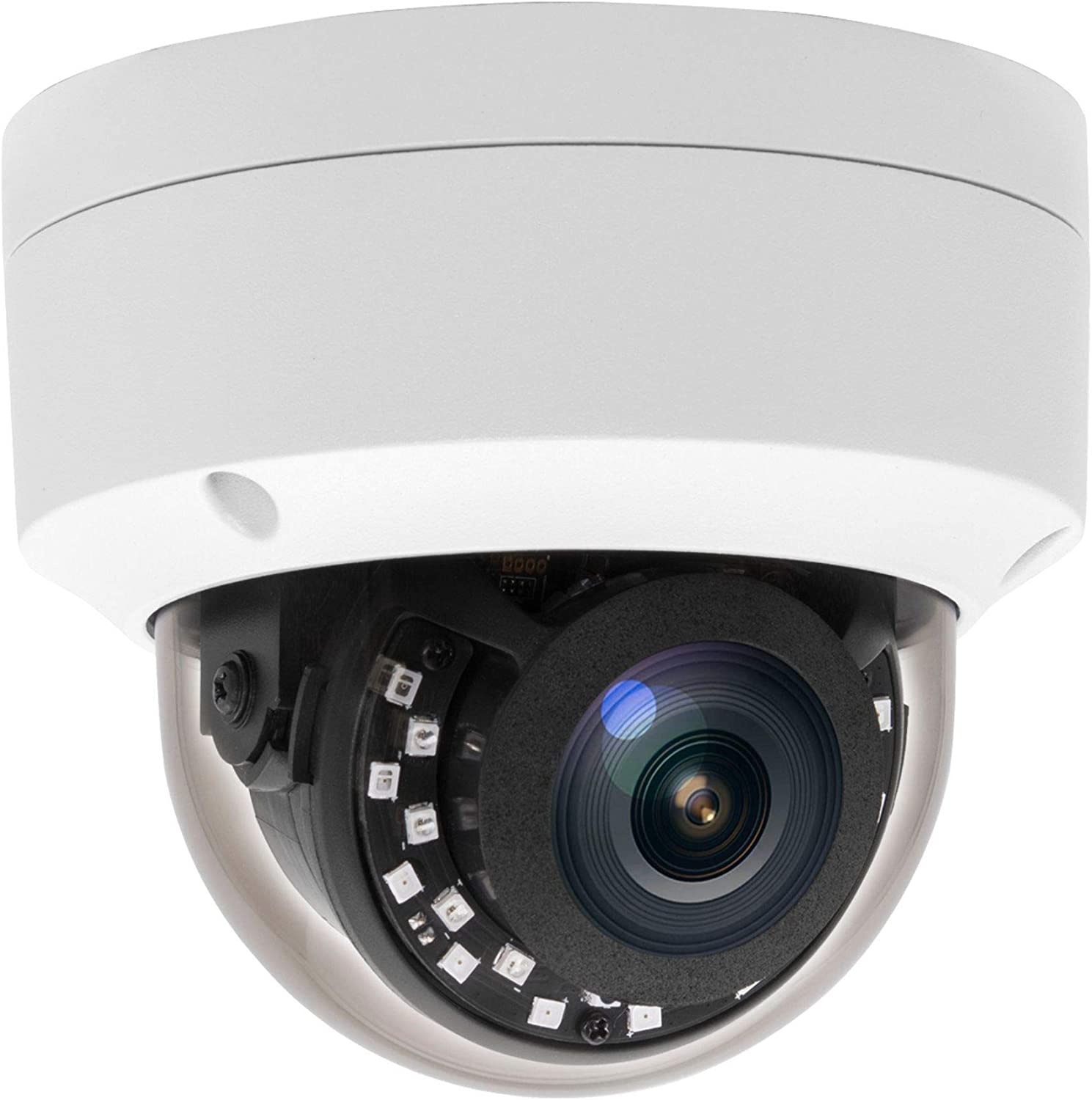 Inwerang Super HD 5MP PoE IP Vandal Dome Security Camera with Mic. Audio in, 68ft NightVision, Indoor/Outdoor IP66 Waterproof , Wide Angle 2.8mm, Motion Alert(Compatible with Hikvision&Dahua NVR )