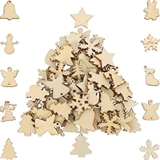 HESTYA 150 Pieces Wooden Ornaments Mini Christmas Theme Natural Wood Slices Decorative Wooden Cutout Slices for Christmas Tree Ornaments Hanging DIY Craft Xmas Decorations