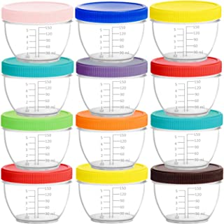 Youngever 18 Pack Baby Food Storage, 6 Ounce Baby Food Containers with Lids and Labels, 9 Assorted Colors