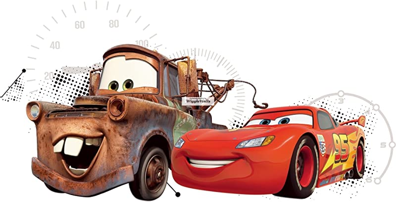 16 Inch Lightning McQueen Tow Mater Wall Decal Sticker 95 Disney Pixar Cars 3 Movie Removable Peel Self Stick Adhesive Vinyl Decorative Art Room Home Decor Kids Room Racing Decor 16 1 2 By 9 Inches