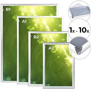 Jago Marco de Aluminio - Formato a Elegir A2 / B2 / A1 / B1, Cubierta Transparente de PVC, Abrefácil, Plateado - Marco Decorativo para Fotos, Imaǵenes, Carteles, Pósteres, Cuadros