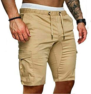 Men's Cargo Sports Short Pants, Casual Elastic Slim Fit Solid Shorts with Pockets