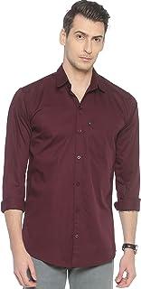 LEVIZO Cotton Plain Solid Casual Regular Fit Full Sleeves Shirt for Men