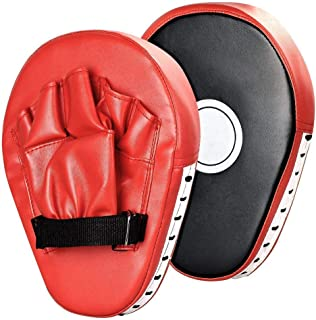 Junboys 1 Pair PU Leather Punching Kicking Palm Pad Hook Jab Strike Pads Boxer Target Focus Punch Mitt Pads Boxing Mitts Gloves Curved for Karate Combat Muaythai Kick Boxing UFC MMA Training. (Red)