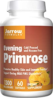 Jarrow Formulas Evening Primrose,Promotes Healthy Skin and Immune Function, 1300 mg, 60 Softgels