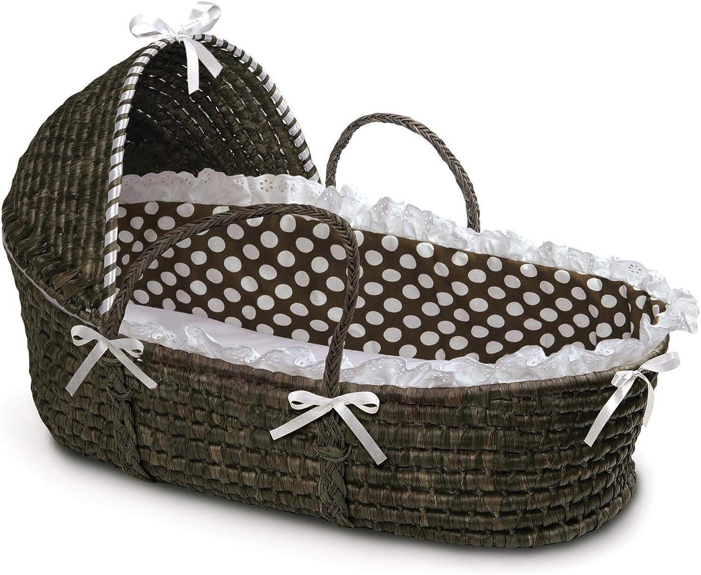 Badger Basket Moses Basket with Polka Dot Hood and Bedding, Espresso Brown