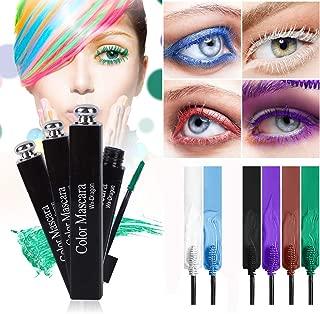 RoseFlower 6Pcs Colorful Rainbow Mascara Waterproof Color Mascara Eyeliner Charming Longlasting Mascara for Eyelash Eye Makeup - Perfect for Day or Night Stage, Clubbing or Costume Makeup