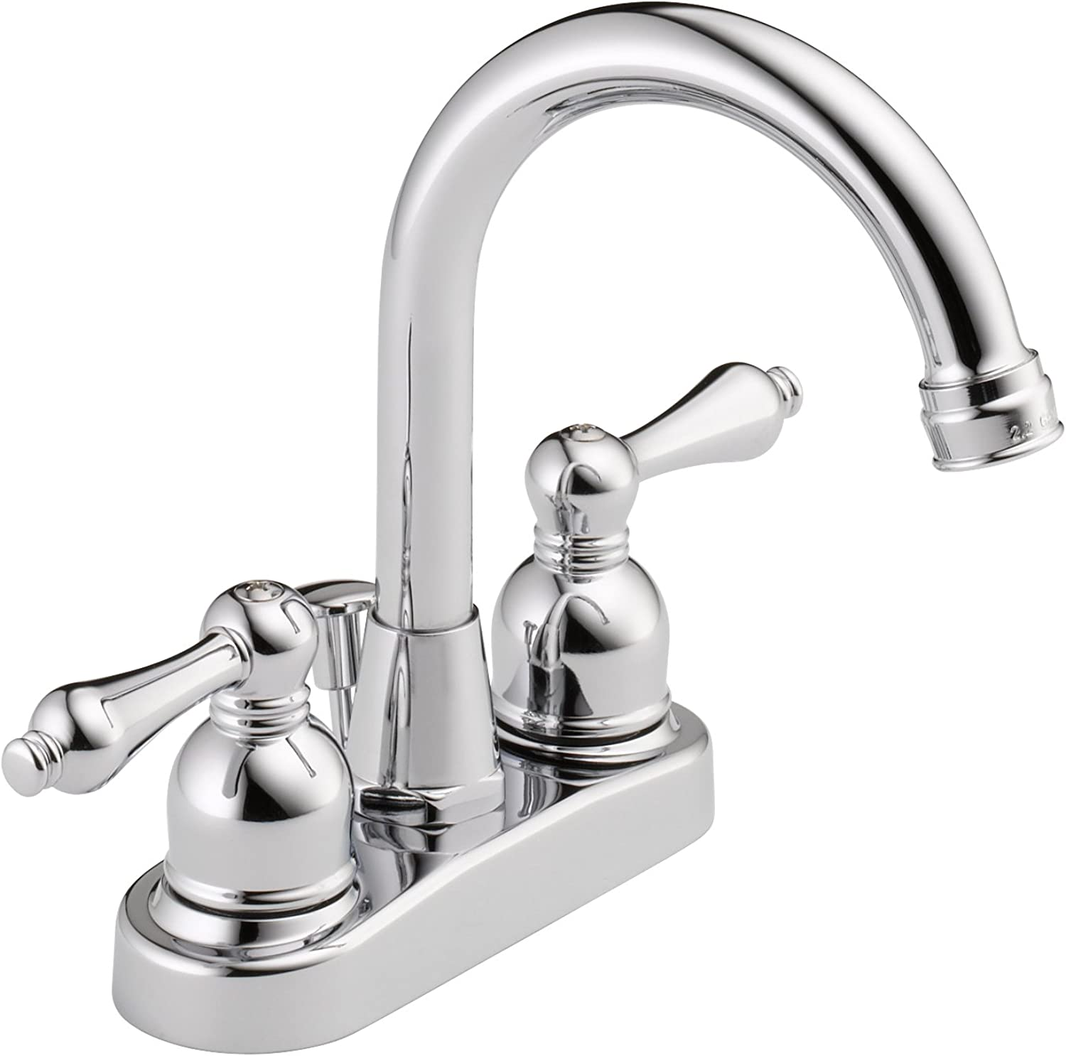 Westbrass WAS00X-26 Two Handle Hi-Arc Spout Centerset Bathroom Faucet, Polished Chrome