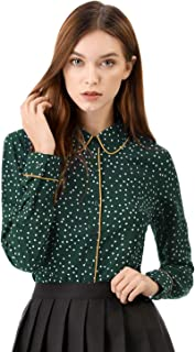 Women's Polka Dots Long Sleeve Piped Button Down Office Shirt