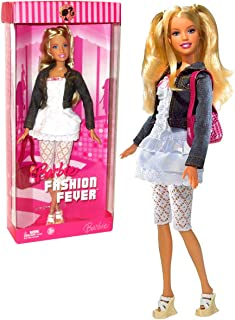 Barbie Mattel Year 2006 Fashion Fever Series 12 Inch Tall Doll Set - Smart, Stylish and Friendly (K8413) with White Layer Dress, Denim Jacket, Crochet Pants, Purse and Shoes