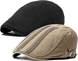 2 Pack Men's Cotton Flat Cap Ivy Gatsby Newsboy Hat