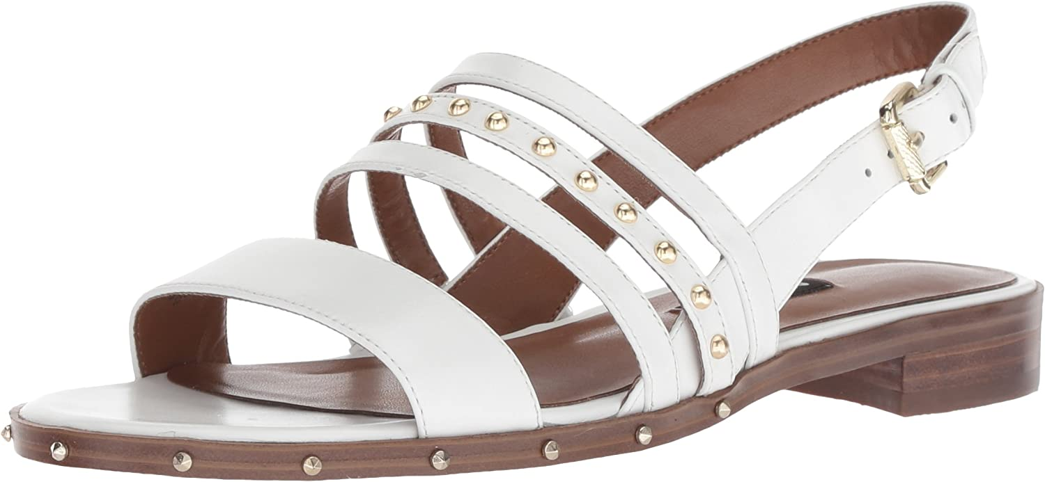 Nine West Womens Chaylen Leather Flat Sandal