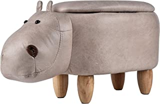 Upholstered Animal Storage Ride-on Ottoman Footrest Stool with 4 Wooden Feet Vivid Adorable Animal-Like Features (Hippo)