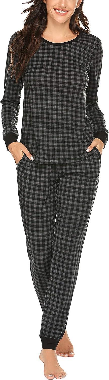 Ekouaer Women's Pajama Set Plaid Pj Long Sleeve Sleepwear Soft Contrast 2 Piece Lounge Sets