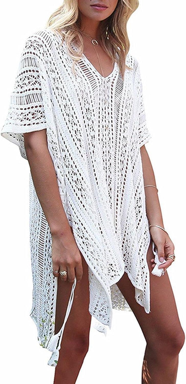 GeLivable Women's Bathing Suit Cover up Swimwear Sleeve Crochet Beach Dress