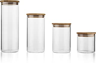 Glass Food Storage Containers with Lids by Sweetzer and Orange - Set of 4 Kitchen Canisters - Candy, Cookie, Rice and Spice Jars - Sugar or Flour Container - Big and Small Airtight Food Jar for Pantry