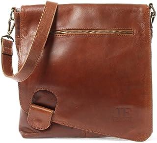 LECONI Umhängetasche Damen-Tasche Crossbag Rinds-Leder Natur Schultertasche Vintage-Look Ledertasche Frauen  Herren Handtasche aus Echt-Leder 29x29x6cm LE3073