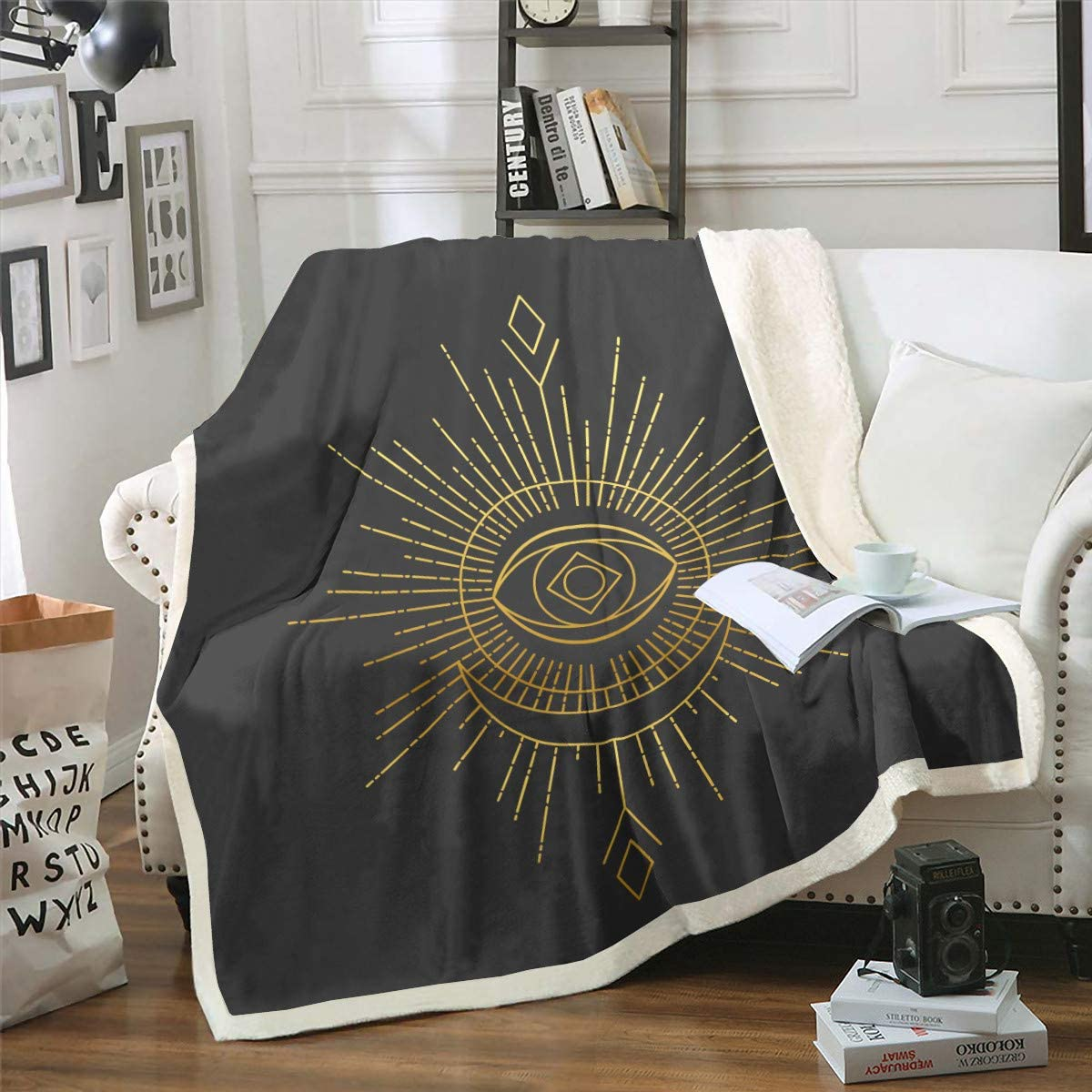 Boho Sun Moon Plush Blanket Quality inspection Max 52% OFF Abstract Astrology Sherpa Ar