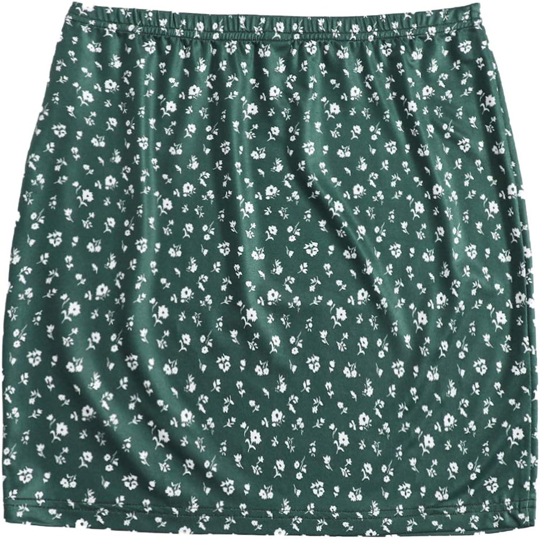 Milumia Women Ditsy Floral Print Elastic Waist Bodycon Pencil Straight Mini Skirt