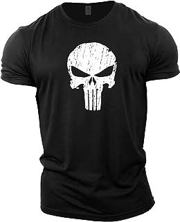 GYMTIER Mens Bodybuilding T-Shirt - Punisher Skull - Gym