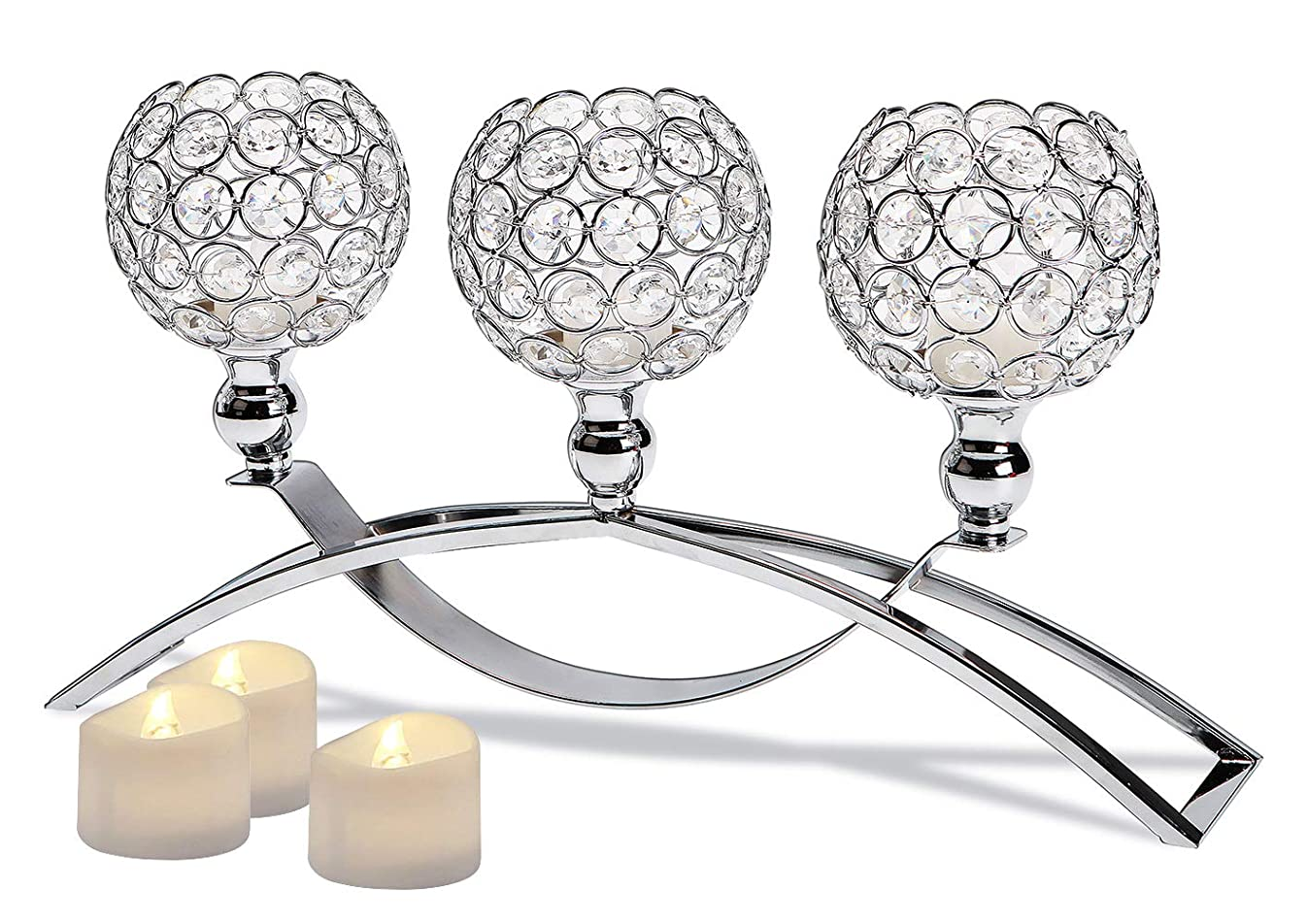 Manvi Crystal Candle Holders, 3-Candles Silver Candlestick Holders/Candelabras for Wedding Dinning Room Table Centerpieces Decor,Christmas Housewarming Gifts