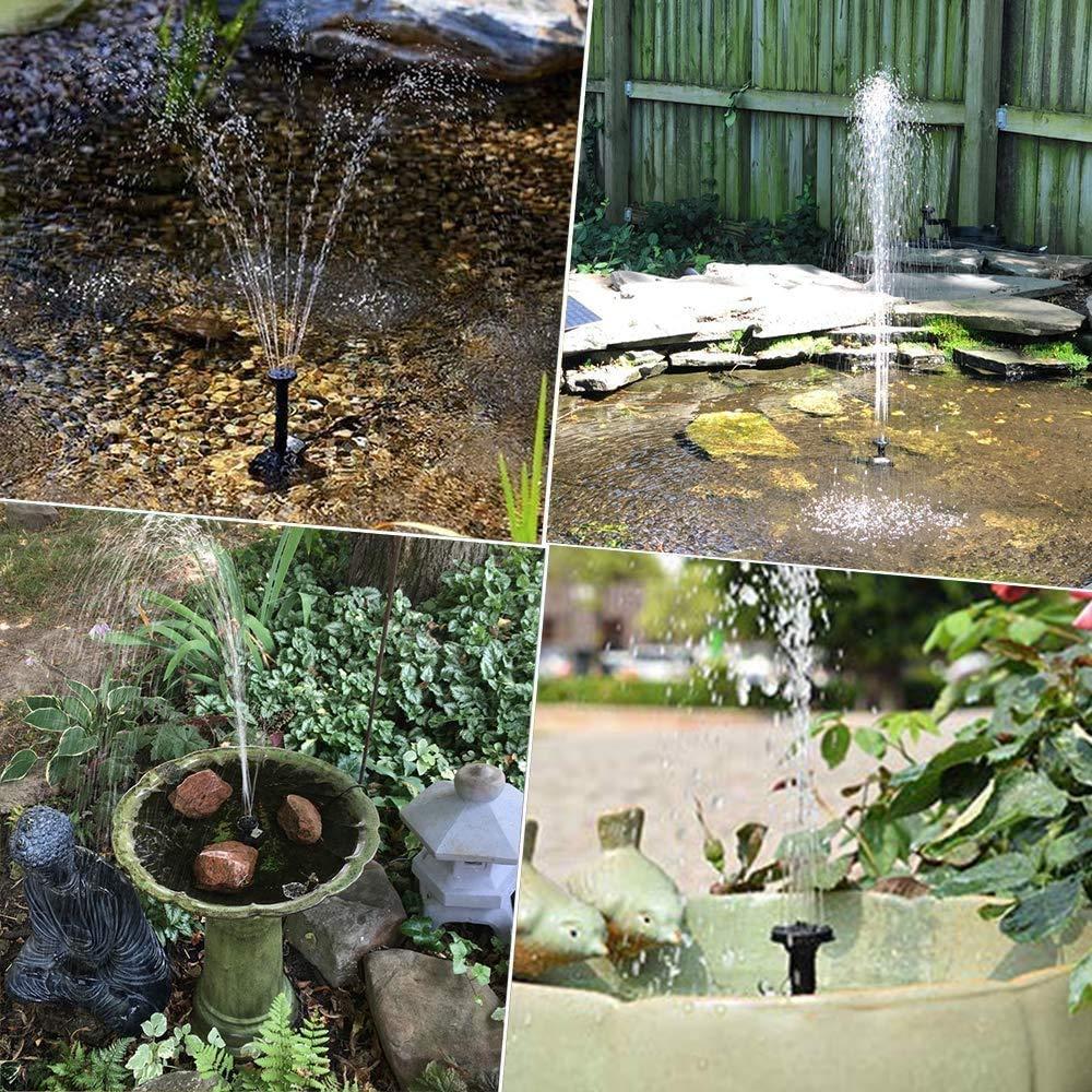 Vivibel Solar Fuente Bomba, Fuente Solar jardín, Bomba de Estanque Solar, Bomba Agua Sumergible Solar con 6 boquillas, Ideal para Pequeño Estanque, estanques, jardín, Piscina(Negro): Amazon.es: Jardín