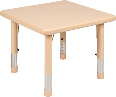 "Flash Furniture 24"" Square Natural Plastic Height Adjustable Activity Table"