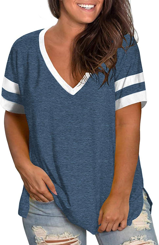 AURISSY Womens Plus-Size Tops Summer V Neck Striped T Shirts Side Split Tunic