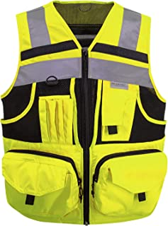 3M Reflective stripes Safety Vest Hi-vis Yellow knitted Vest with 10 pockets Bright Construction Workwear for men and women. (Extra Large)