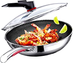 Megoo Stainless Steel 12 Inch Frying Pan With Glass Lid,Nonstick Flat Fry Pan With New Handle Design,Saute Pan With Multi-...