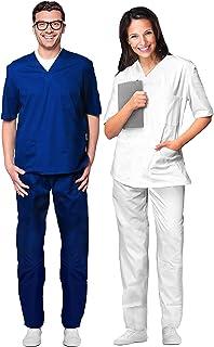 Uniforme Sanitario Hombre Mujer de algodón 100% sanforizado Pantalones y Casaca con Cuello en V # Made in Italy