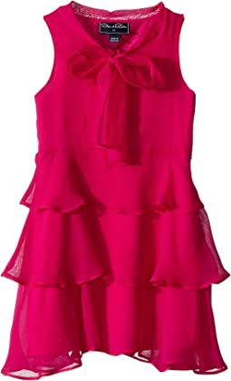 Oscar de la Renta Childrenswear - Chiffon Bow Tiered Dress (Toddler/Little Kids/Big Kids)