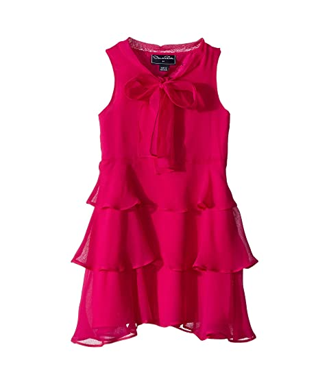 Oscar de la Renta Childrenswear Chiffon Bow Tiered Dress (Toddler/Little Kids/Big Kids)